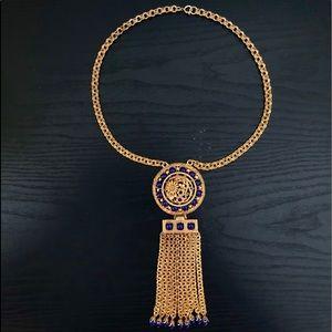 1960's Lucien Piccard Gold tone Necklace & Fringe